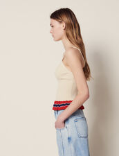 Knit Vest Top With Ruffle : null color Beige
