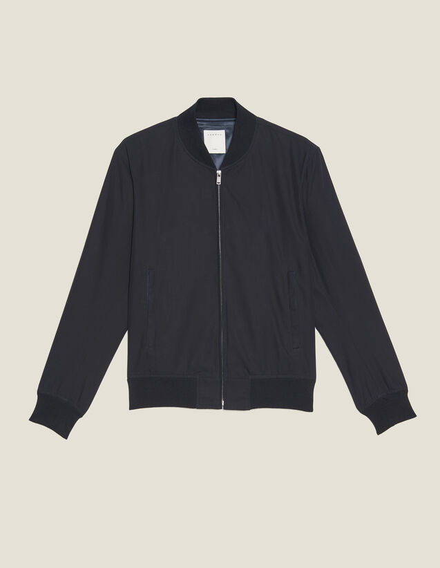 Cotton Teddy-Style Jacket : Blazers & Jackets color Navy Blue
