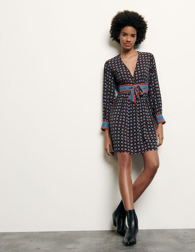 Printed short silk dress : Summer Collection color Black