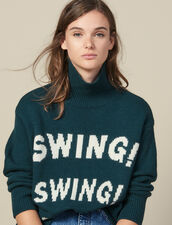 Roll Neck Sweater With Jacquard Slogan : Copy of VP-FR-FSelection-Pulls&Cardigans color Green