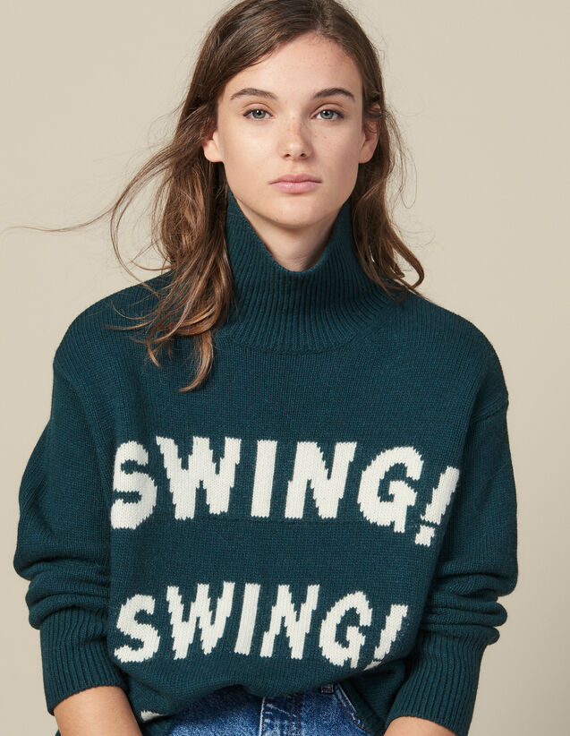 Roll Neck Sweater With Jacquard Slogan : Sweaters & Cardigans color Green