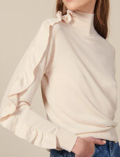 High Neck Sweater With Asymmetric Ruffle : LastChance-ES-F50 color Nude