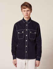 Denim Overshirt : LastChance-RE-HSelection-Pap&Access color Midnight Blue Denim