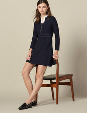 Short topstitched dress, ruffled collar : LastChance-ES-F50 color Navy Blue