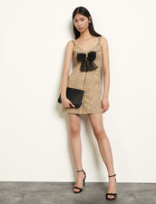 Tweed dress with straps : Dresses color Beige