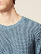 Textured Cotton Knit Sweater : Sweaters & Cardigans color Steel blue