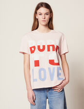 T-Shirt With Born To Love Slogan : null color Pink