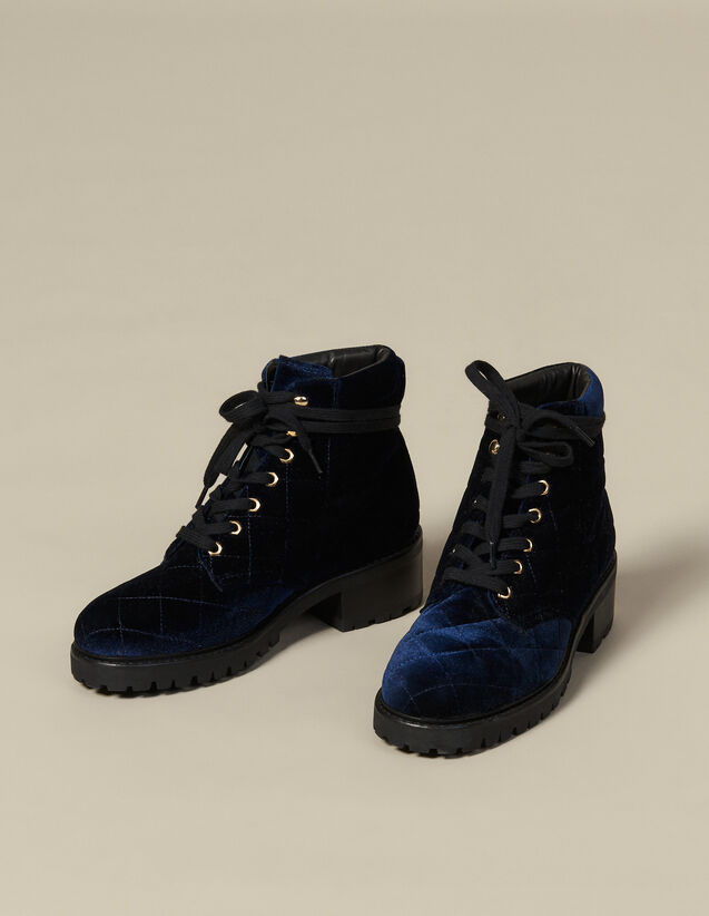 Quilted velvet ranger boots : All Shoes color Navy Blue