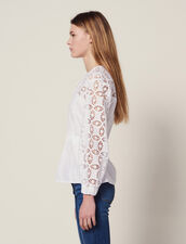 Dual Material Top With Lace : null color white