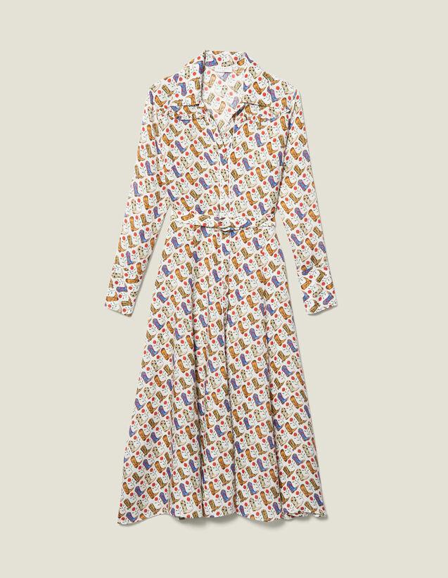 Cowboy boot print shirt dress : LastChance-ES-F40 color Multi-Color