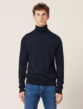 Roll Neck Wool Sweater : Sweaters & Cardigans color Navy Blue