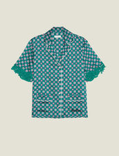 Printed Pyjama Shirt : Printed shirt color Green