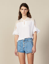 Top With Lace Insert : null color white