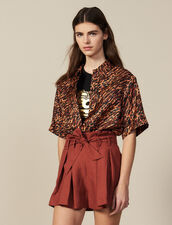 Pleated Shorts With Tie Belt : LastChance-ES-F50 color Wine