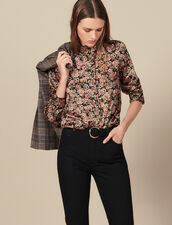 High Collar Blouse Edged With Ruffles : Tops & Shirts color Black