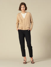 Cardigan With Asymmetrical Ruffle : Copy of VP-FR-FSelection-Pulls&Cardigans color Camel