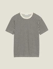 Chequerboard Cotton T-Shirt : Sélection Last Chance color Black