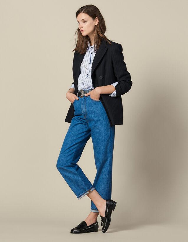 Two-Tone Mom Jeans : Copy of VP-FR-FSelection-Pantalons&Jeans color Bleu Denim