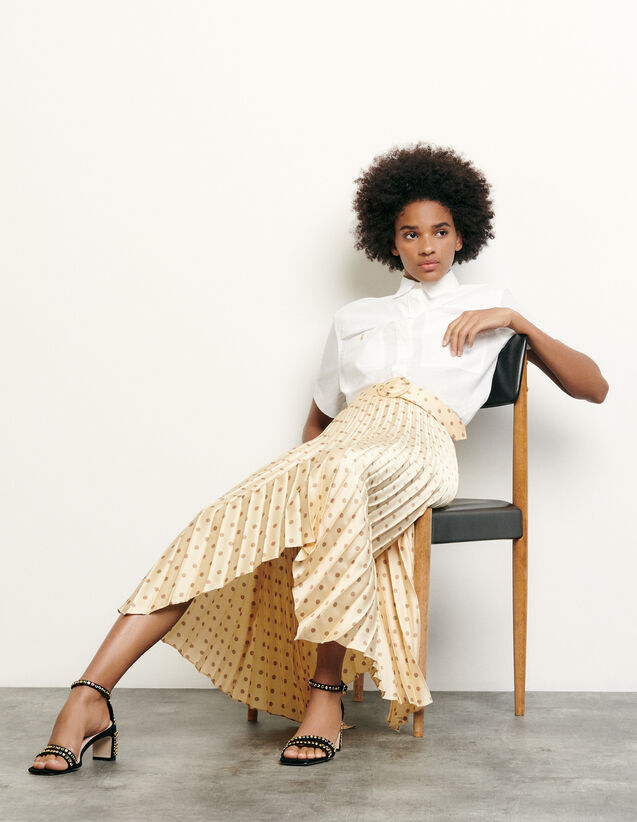 Pleated and printed skirt with belt : Summer Collection color Yellow