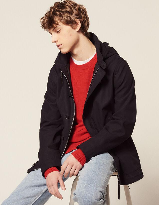 Cotton Deckjacket : Trench coats & Coats color Navy Blue