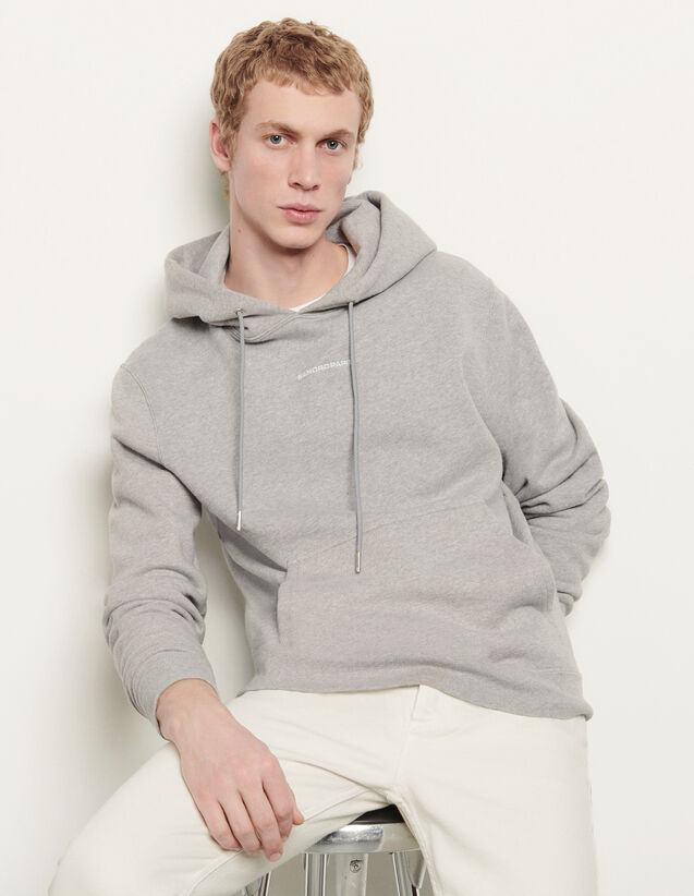 Hoodie sweatshirt with logo embroidery : Sweatshirts color Mocked Grey