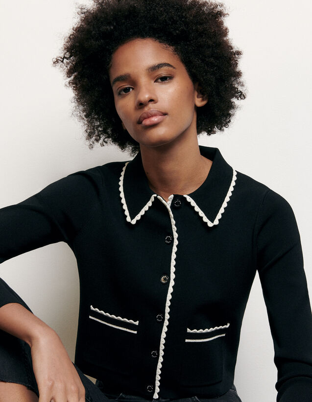 Cropped cardigan with shirt collar : Summer Collection color Black