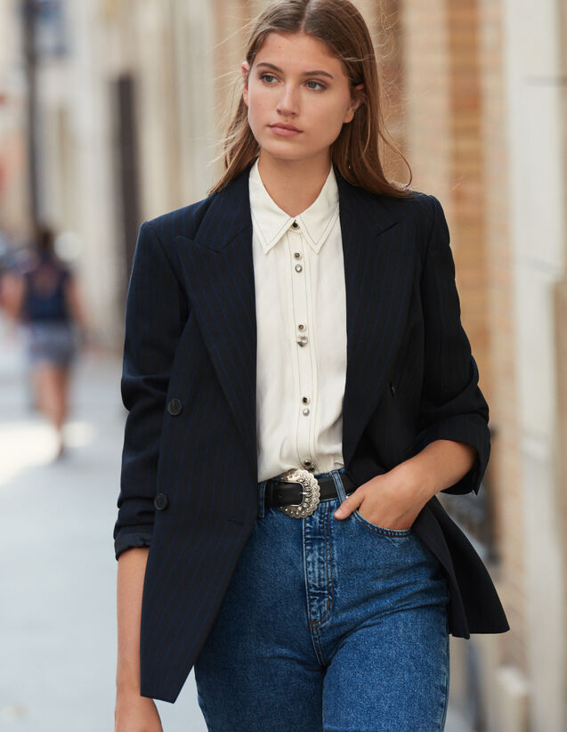 Oversized striped blazer : LastChance-ES-F50 color Black