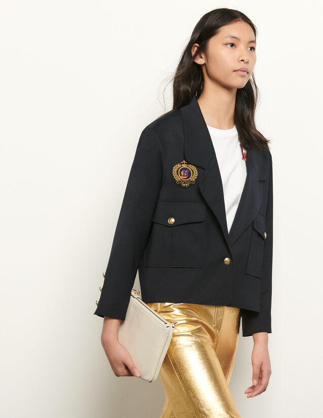 Short tailored jacket with patch : Summer Collection color Navy Blue