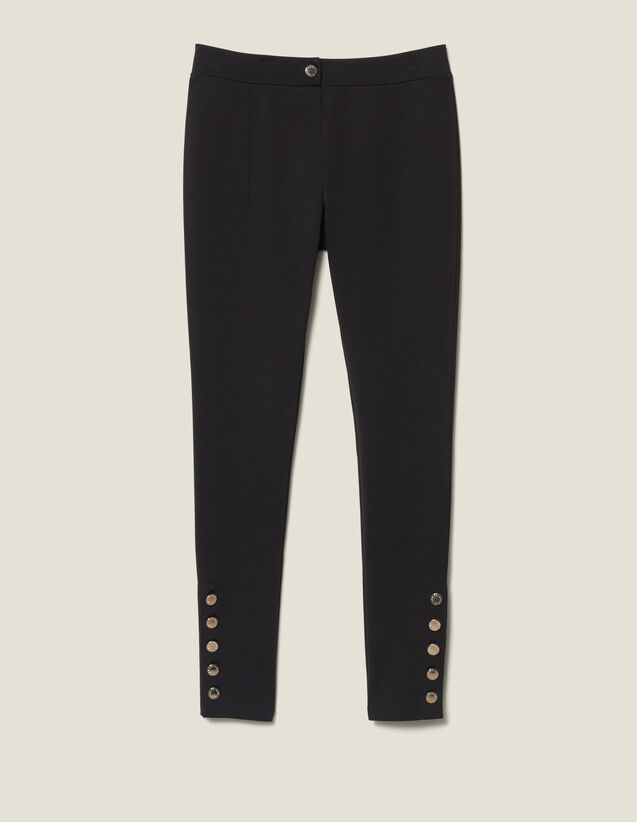 Leggings With Press Studs : Pants color Black