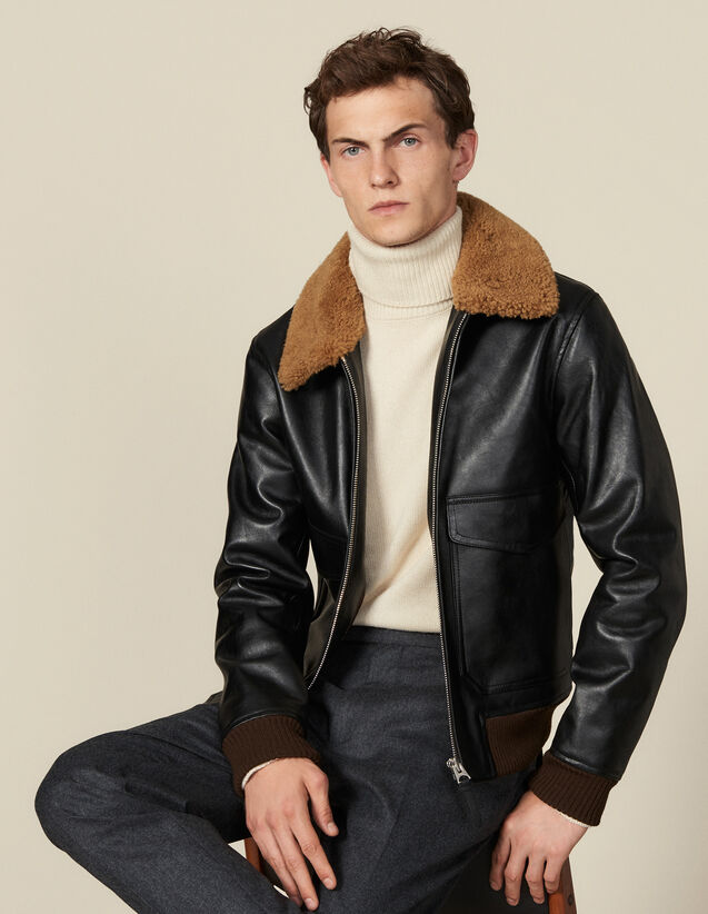 Leather flight jacket with sheepskin : Blazers & Jackets color Black