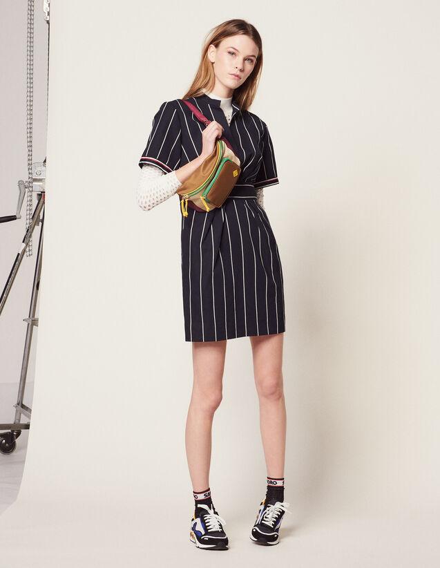 Short Dress With Stripes : Dresses color Navy Blue