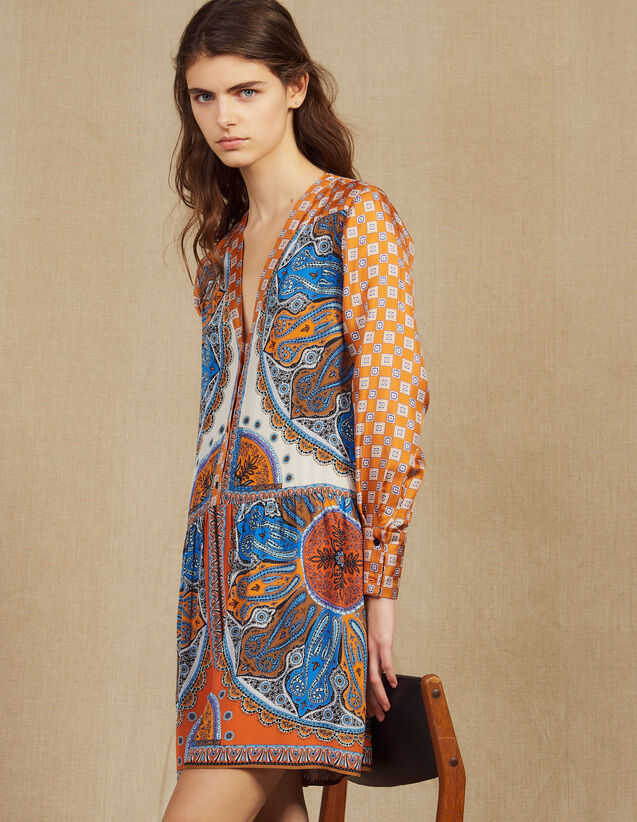 Short Printed Dress With Buttons : Dresses color Multi-Color