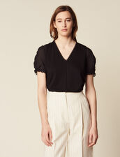 T-Shirt With Short Puff Sleeves : null color Black