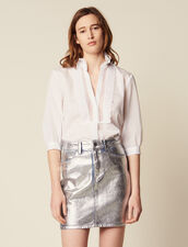 Coated Denim Skirt With Silver Effect : Skirts & Shorts color Silver