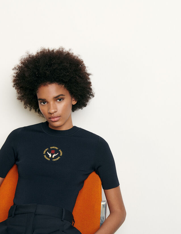 Knit top with embroidery : Summer Collection color Navy Blue