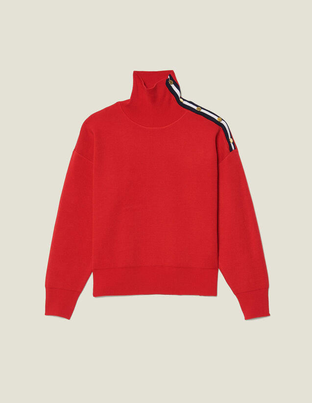 High neck sweater with press studs : Sweaters & Cardigans color Red