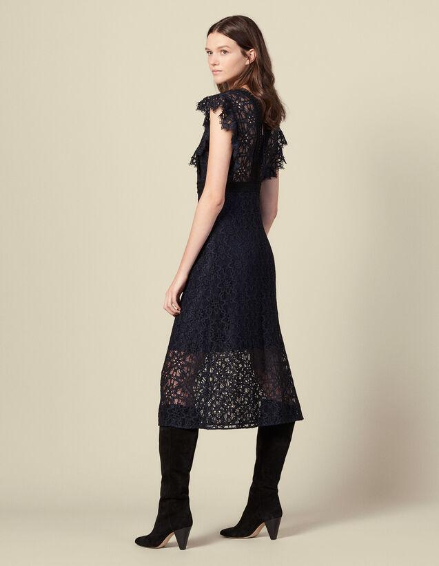 Lace midi dress : Dresses color Navy Blue