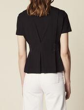Topstitched V-Neck T-Shirt : T-shirts color Black