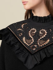 Sweater with broderie anglaise panel : Sweaters & Cardigans color Black