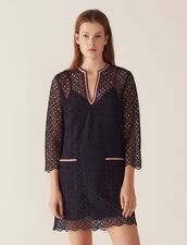 Short Guipure Dress : null color Navy Blue