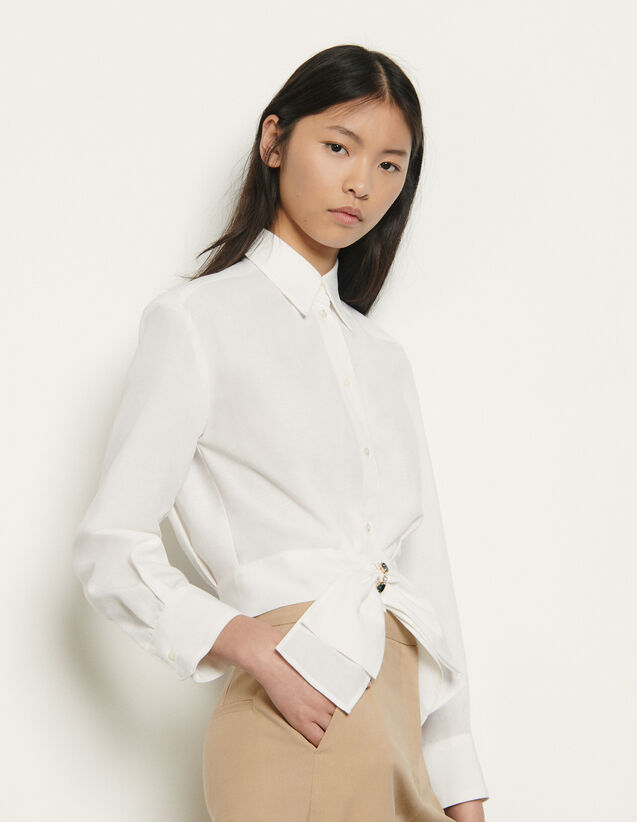 Cropped shirt with removable bow : Tops & Shirts color white