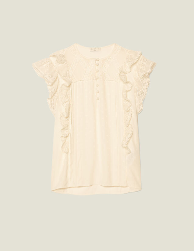 Jacquard Top With Ruffles : Tops & Shirts color Ecru