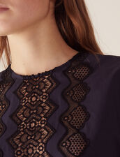 Long-Sleeved Top With Braid Trim : Tops & Shirts color Navy Blue