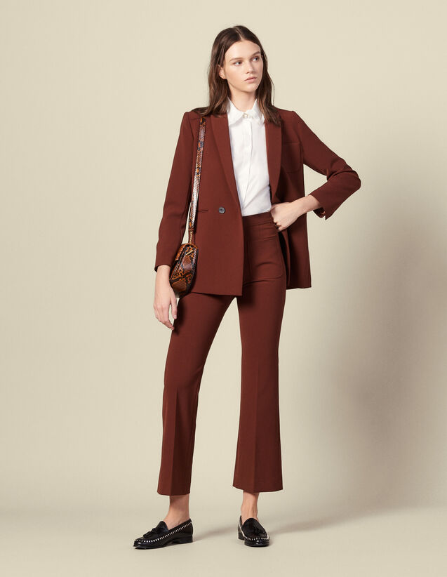 Flared tailored trousers : Pants color Tobacco Brown