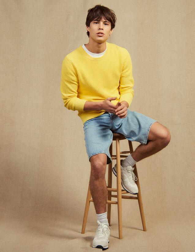 Textured Cotton Knit Sweater : Sélection Last Chance color white