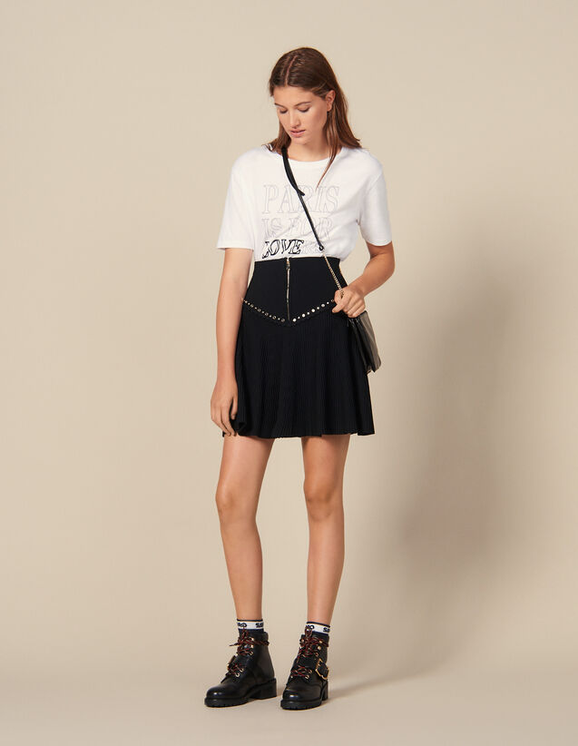 Flared Knit Skirt With Zip : LastChance-ES-F40 color Black