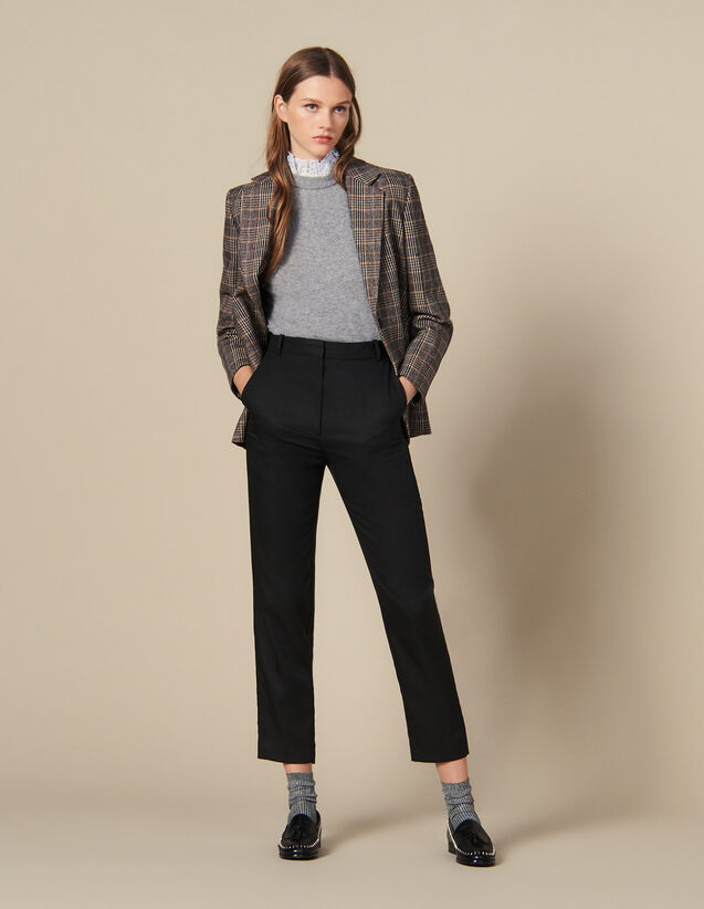 Fitted trousers with pin tuck pleats : Copy of VP-FR-FSelection-Pantalons&Jeans color Black