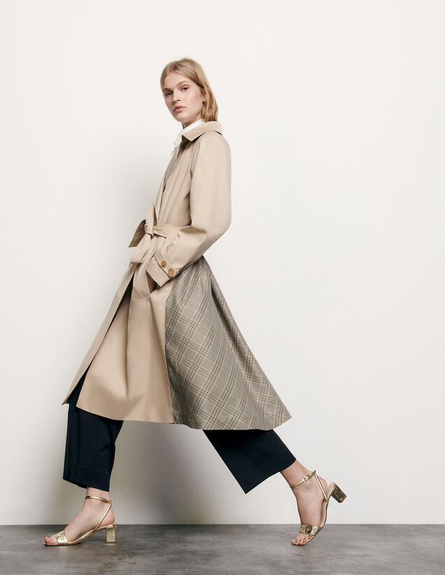 Trenchcoat with insert at the back : Summer Collection color Beige