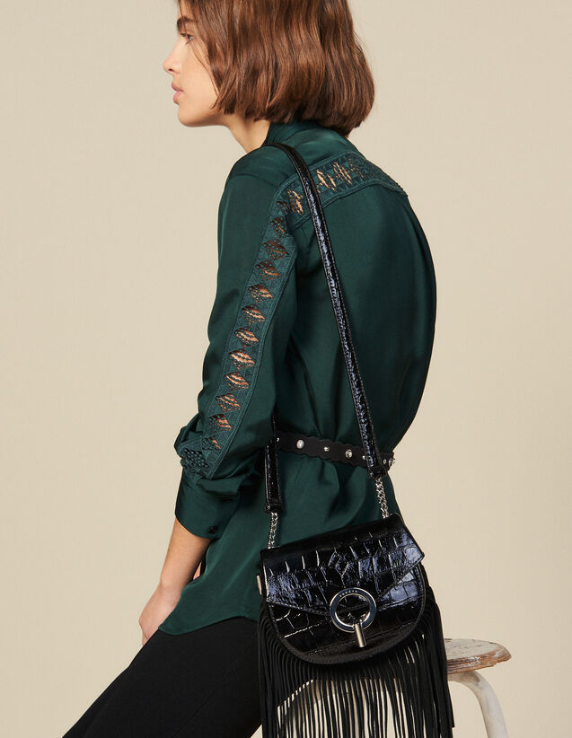 Blouse With Lace Inset : Tops & Shirts color Green