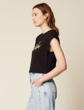 Cropped T-Shirt With Beaded Lettering : LastChance-FR-FSelection color Black